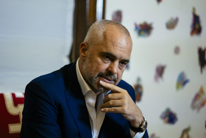 Albanian Prime Minister Edi Rama speaks during an interview in Tirana on June 28, 2016.   When Albanian Prime Minister Edi Rama wrote to the London Times about the risk of Brexit, his message was clear -- and echoed other Balkan nations desperate to join the European Union. / AFP / DIMITAR DILKOFF        (Photo credit should read DIMITAR DILKOFF/AFP/Getty Images)