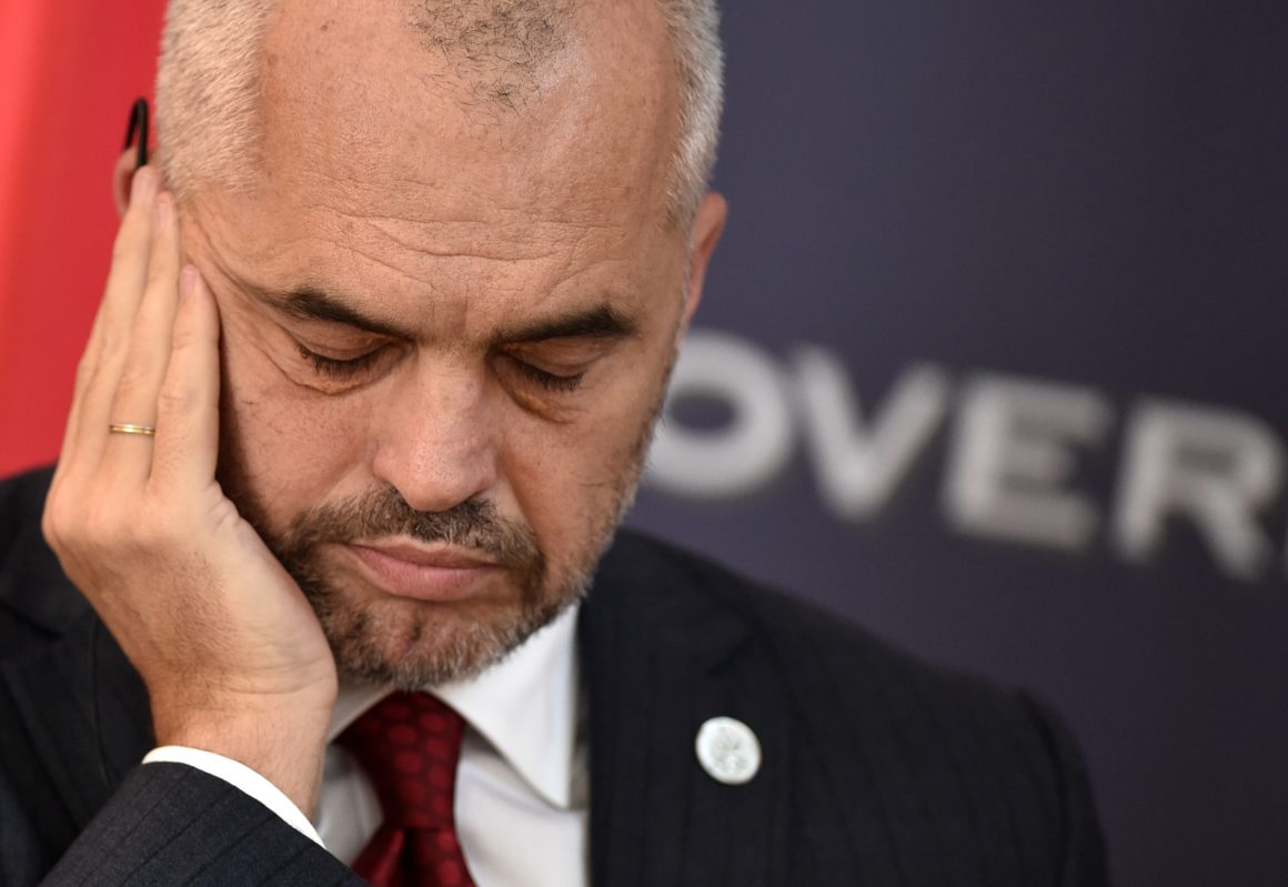 Albanian Prime Minister Edi Rama and his Serbian counterpart give a press conference after their meeting in Belgrade on November 10, 2014. Rama arrived on November 10 as the first Albanian prime minister visiting Serbia in 68 years, amid tensions risen over recent football incidents showing the fragility of region's stability.  AFP PHOTO / ANDREJ ISAKOVIC        (Photo credit should read ANDREJ ISAKOVIC/AFP/Getty Images)